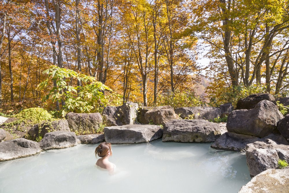 autumn. Japanese open air hot spa . Open-air bath of Japan
