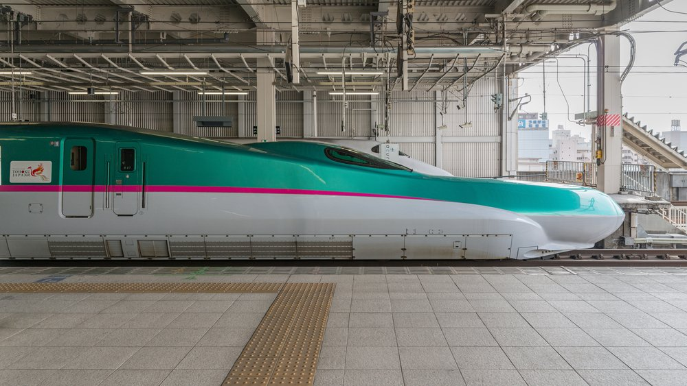 The green E5 Series bullet train. Piti Sirisriro - Shutterstock.com