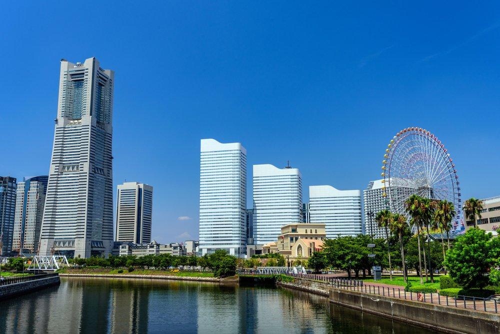 Panoramic view of Yokohama Minato Mirai 21 buildings