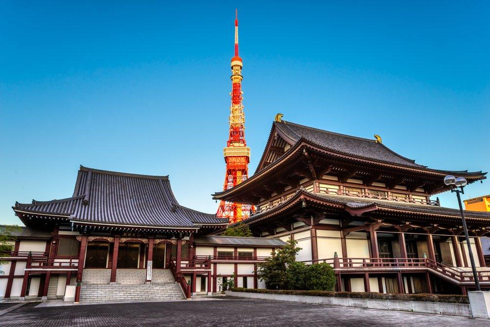View of Zojo.ji Temple and tokyo Tower, Tokyo, Japan.