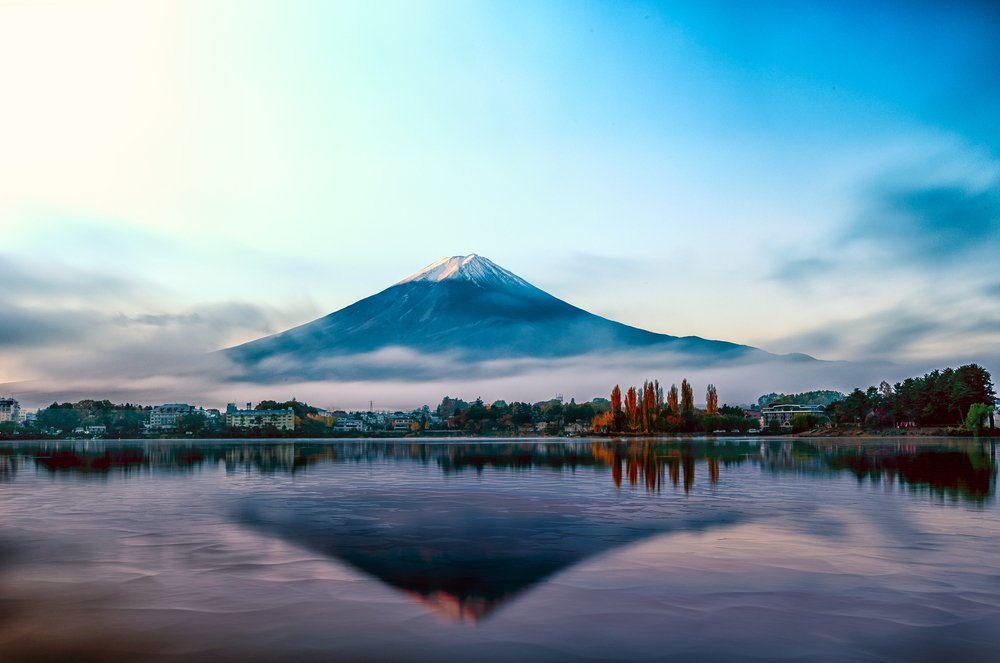Mt Fuji in the early morning with reflection on the lake kawaguchiko