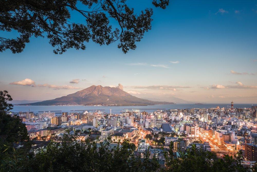 Twilight Sakurajima Volcano and Kagoshima City View from Shiroyama Viewpoint, Yakushima Island,