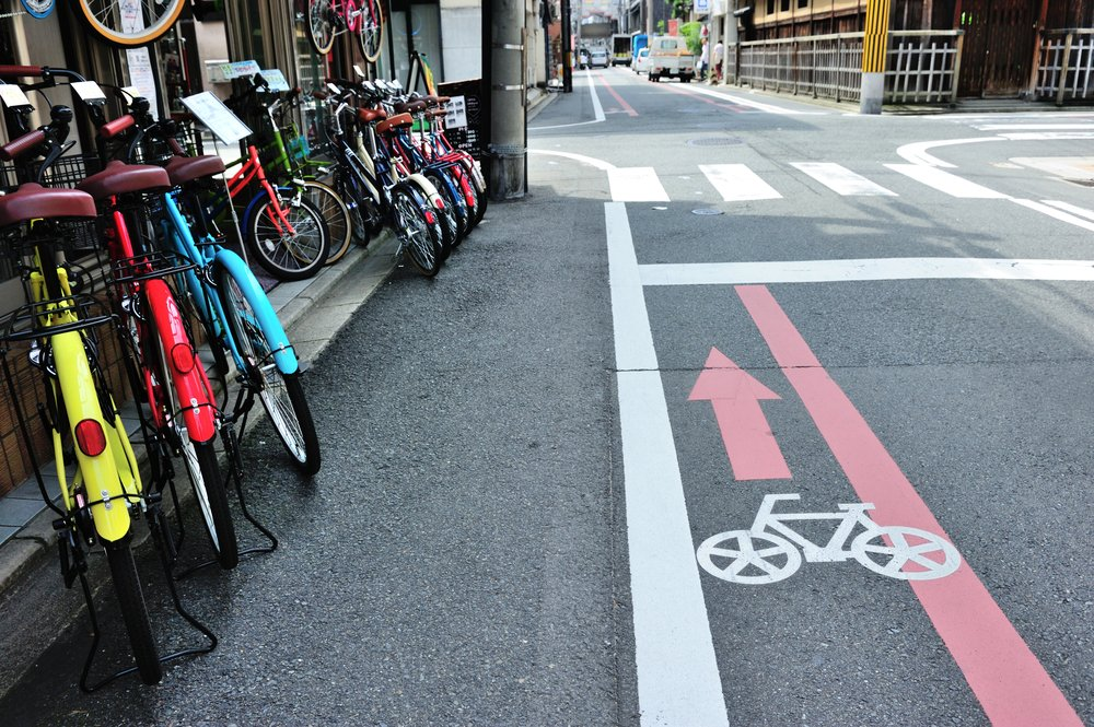 Bicycle lane on the road in Kyoto area