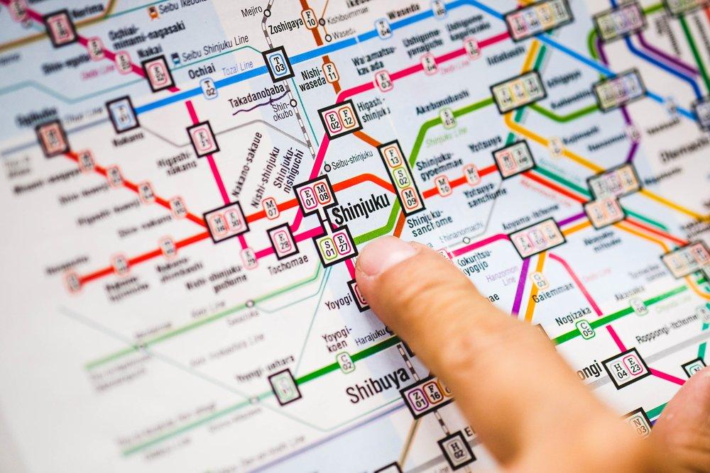 close up Shinjuku station in TOKYO metro subway map