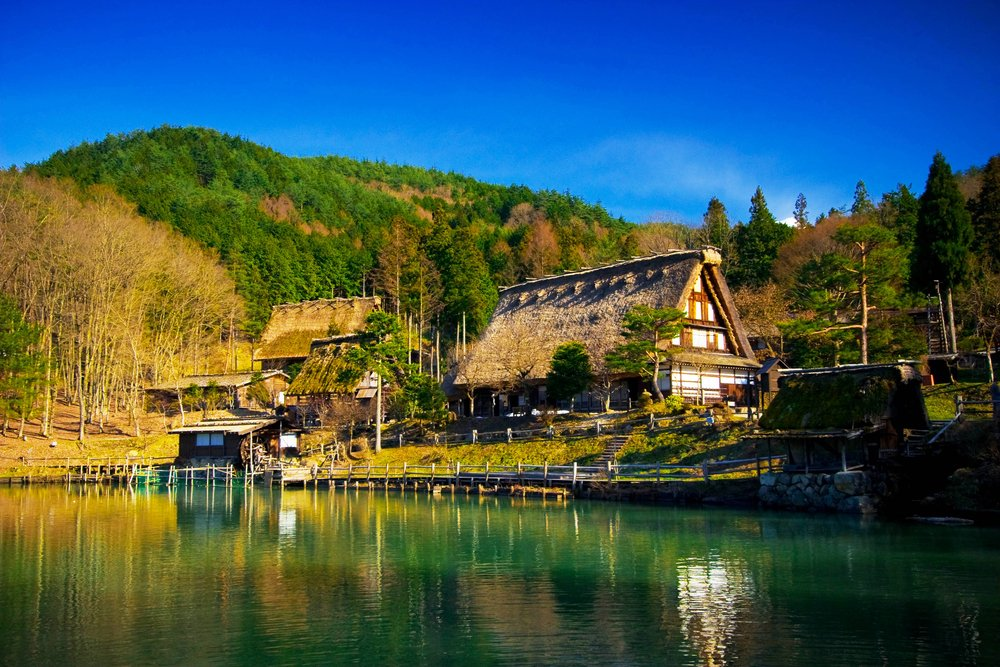 Hida Folk Village (Hida No Sato) with blue sky in spring season, Takayama, Japan