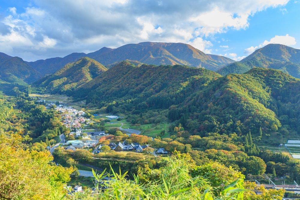 Yamadera city valley Viewed from the Godaido Hall of the Yamadera temple, Yamagata prefecture, Japan.