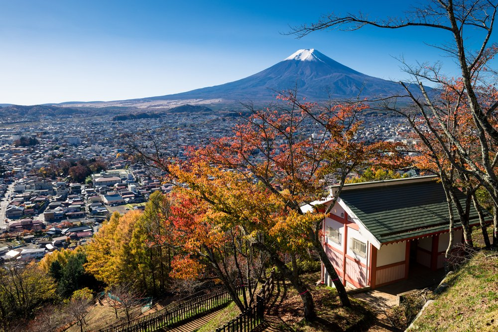 Autumn scene of Mount Fuji and Fujiyoshida city from Arakurayama sengen park, Yamanashi, Japan