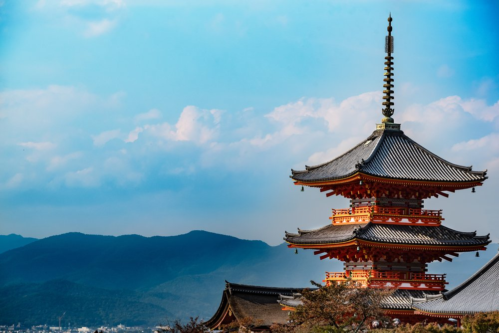 Beautiful old red wooden pagoda in Kyoto, Japan