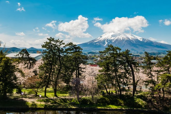 Mount Iwaki view from Hirosaki Castle Park in Hirosaki, Aomori, Japan